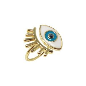 Evil Eye 10K Gold Plated Open Ring w/ Lash Detail